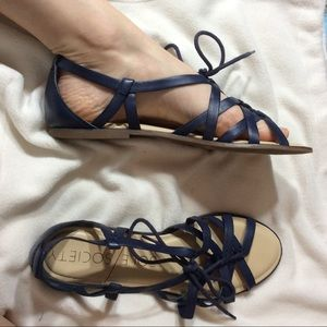 SOLE SOCIETY Navy Blue Leather Shoes Sandals